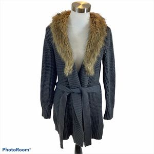 Old Navy Grey Long Knit Sweater w/ Faux Fur Collar